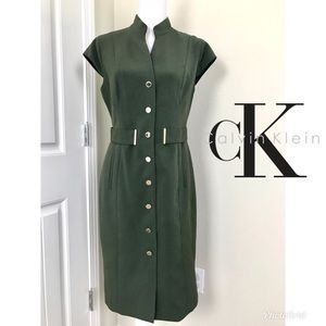 Calvin Klein Green Olive Dress cap Sleeve Sz 10